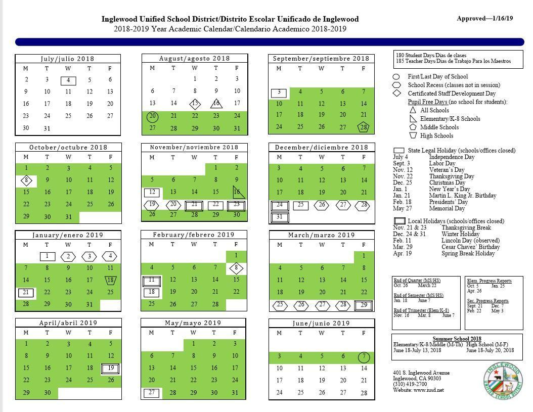 Calendar – About Us – Inglewood Unified School District Inside Diamond Bar High School Calendar 2020