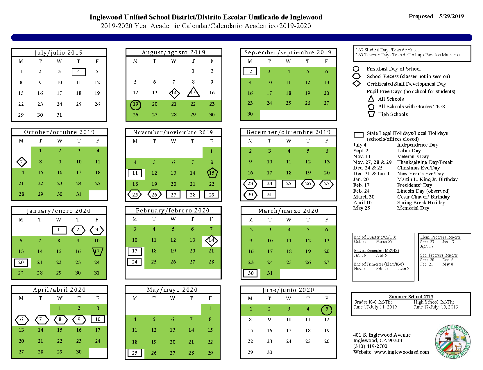 Calendar – About Us – Inglewood Unified School District Intended For Ontario Montclair School District Calendar