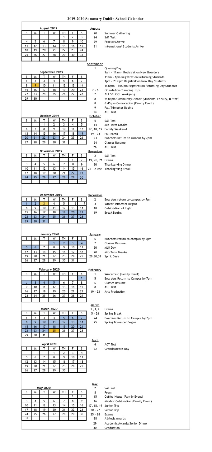 Calendar At A Glance 2019/2020 — Dublin School Throughout Keene State College Nh Academic Calendar