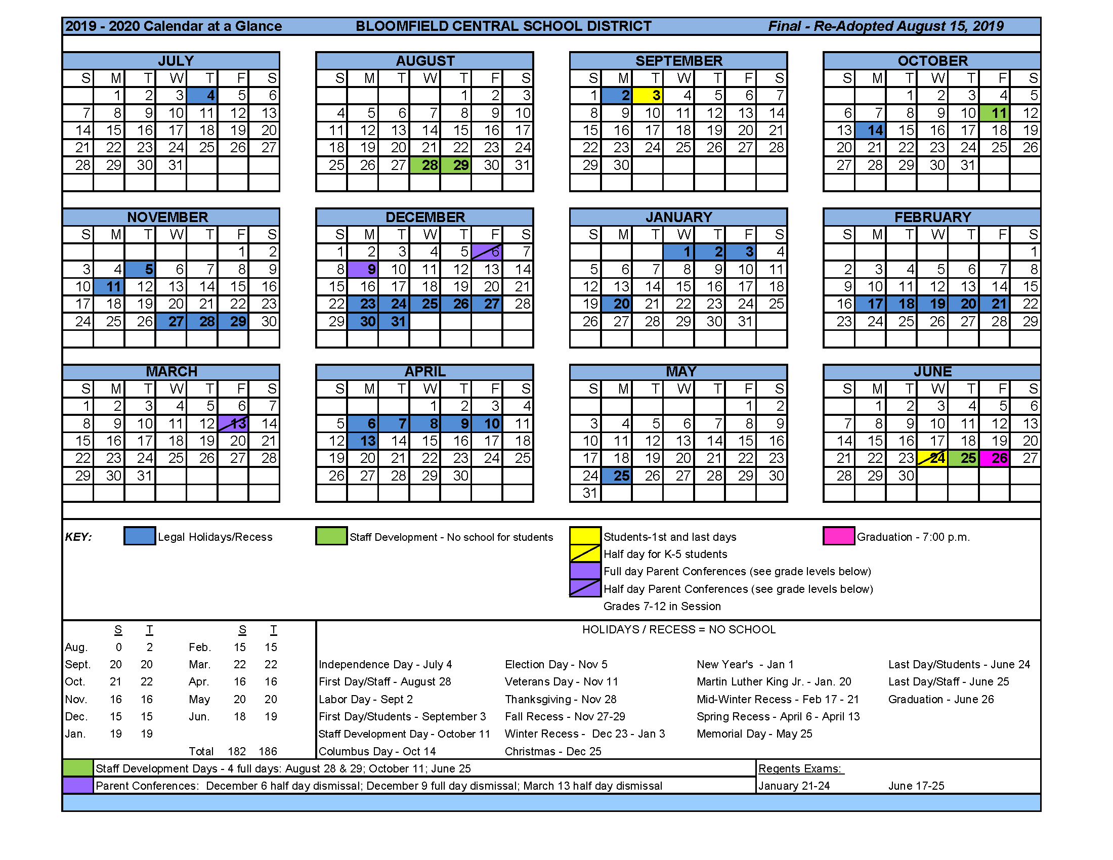Calendar At A Glance – District – Bloomfield Central School Within Spring Valley Ny Hs Calendar
