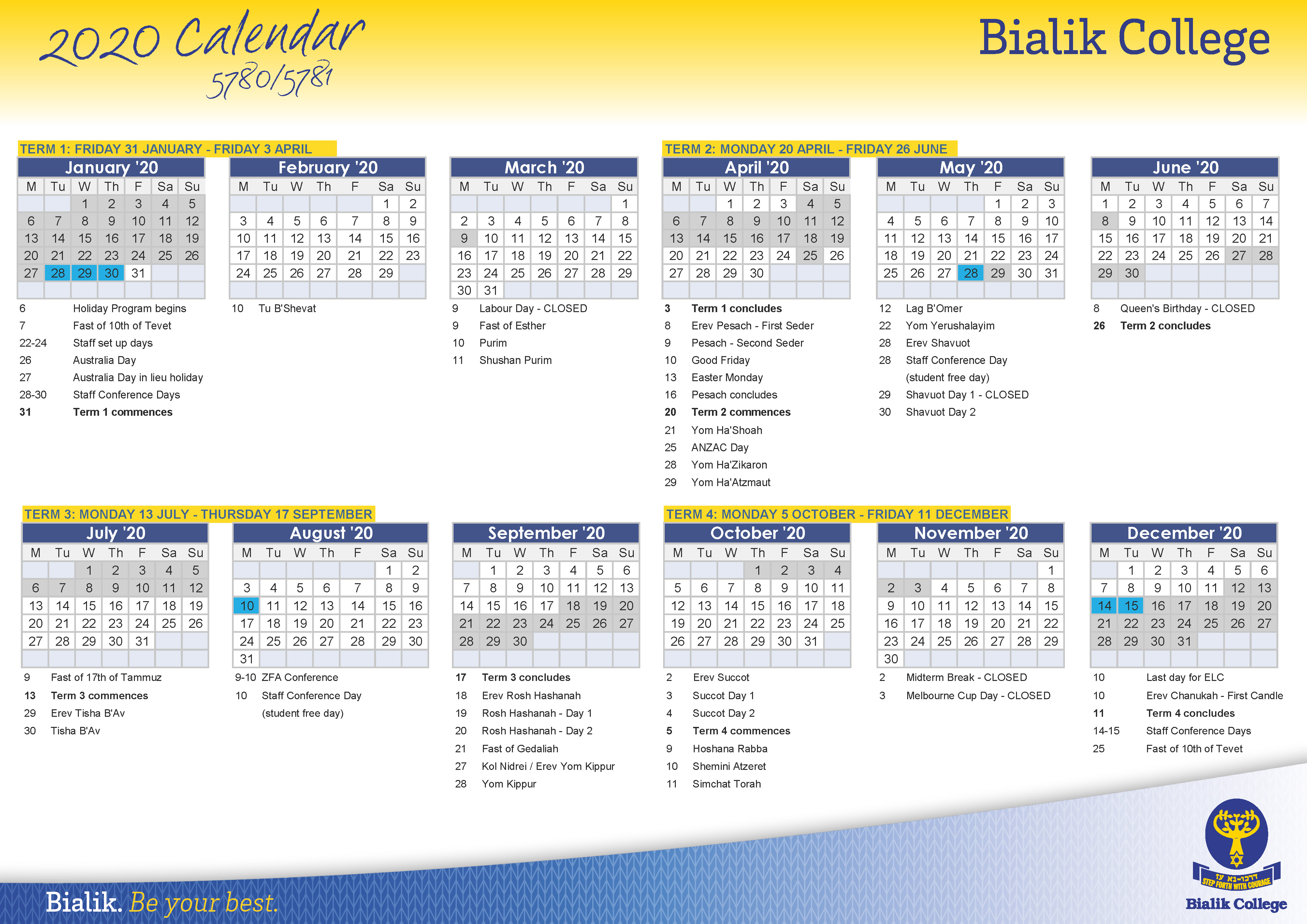 Calendar – Bialik Intended For University Of Melbourne Academic Calendar