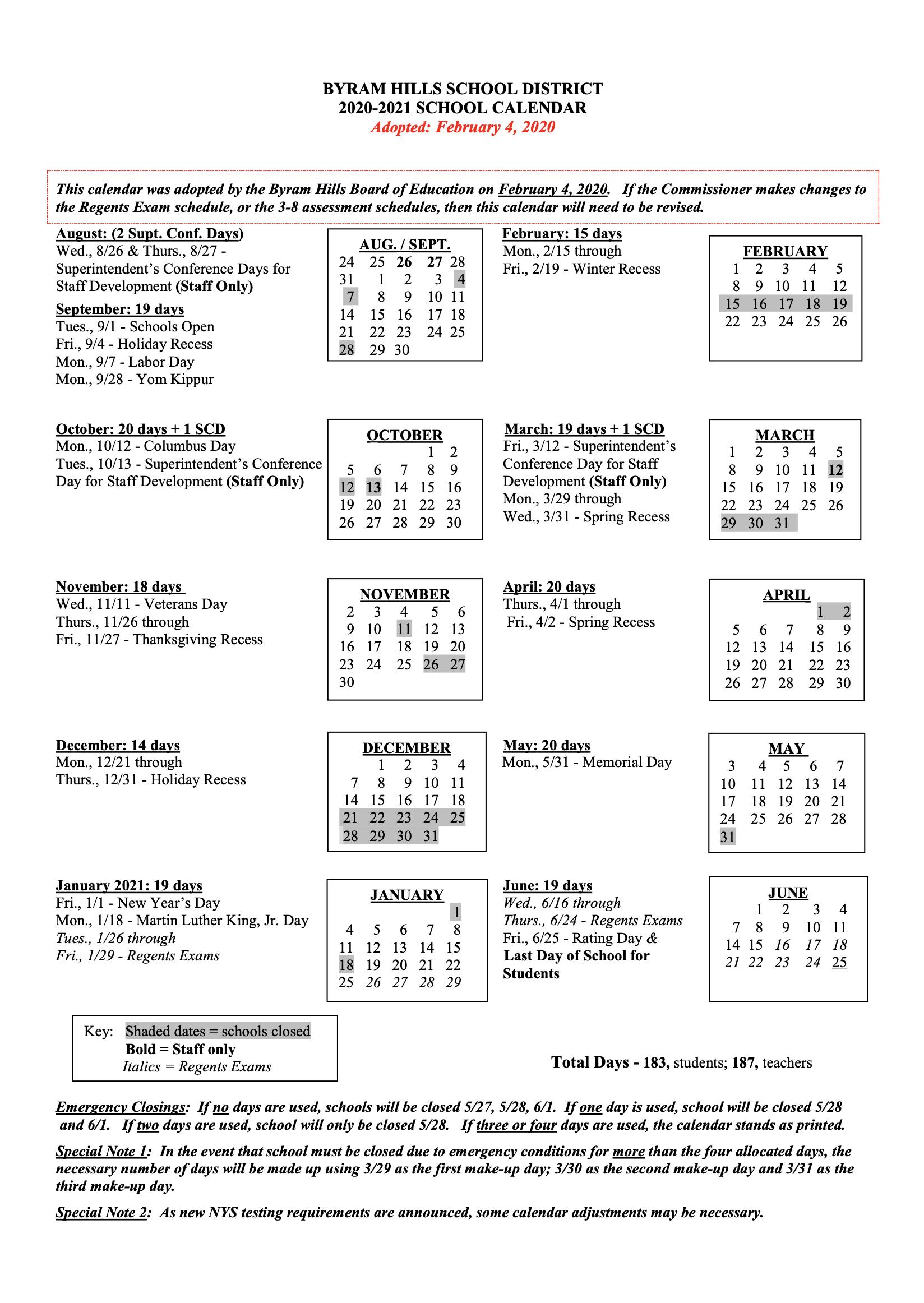 Calendar – Byram Hills Central School District Intended For College Of Staten Island Spring 2021 Calendar