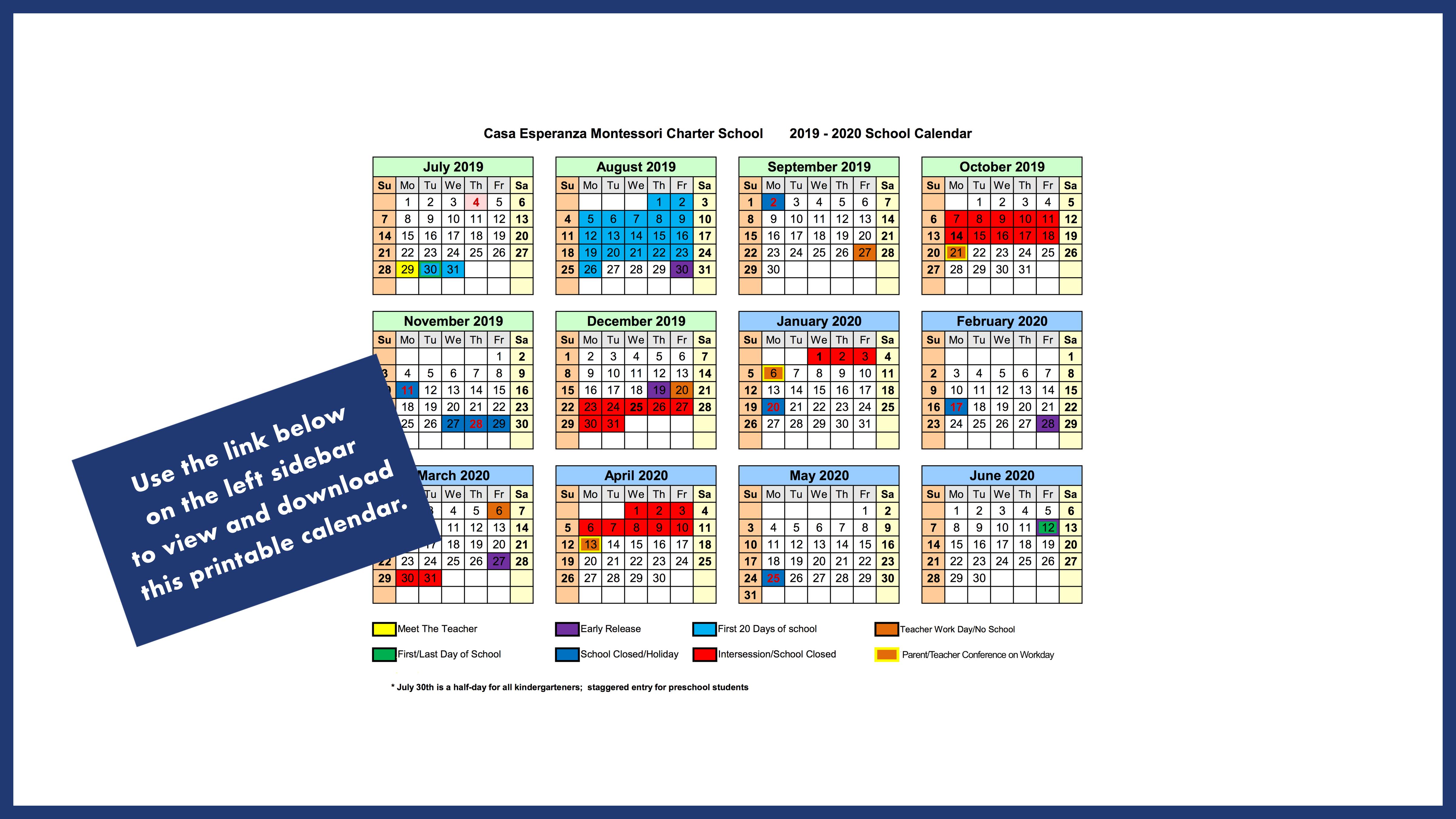 Calendar – Casa Esperanza Montessori Intended For Durham Public Schools Traditional Calendar 2021 2020