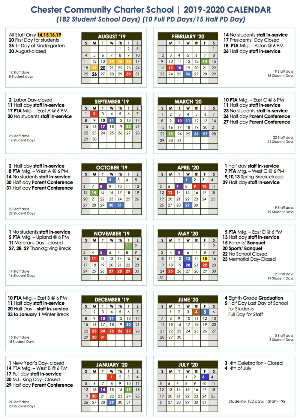 Calendar — Chester Community Charter School In West Clark School Calendar