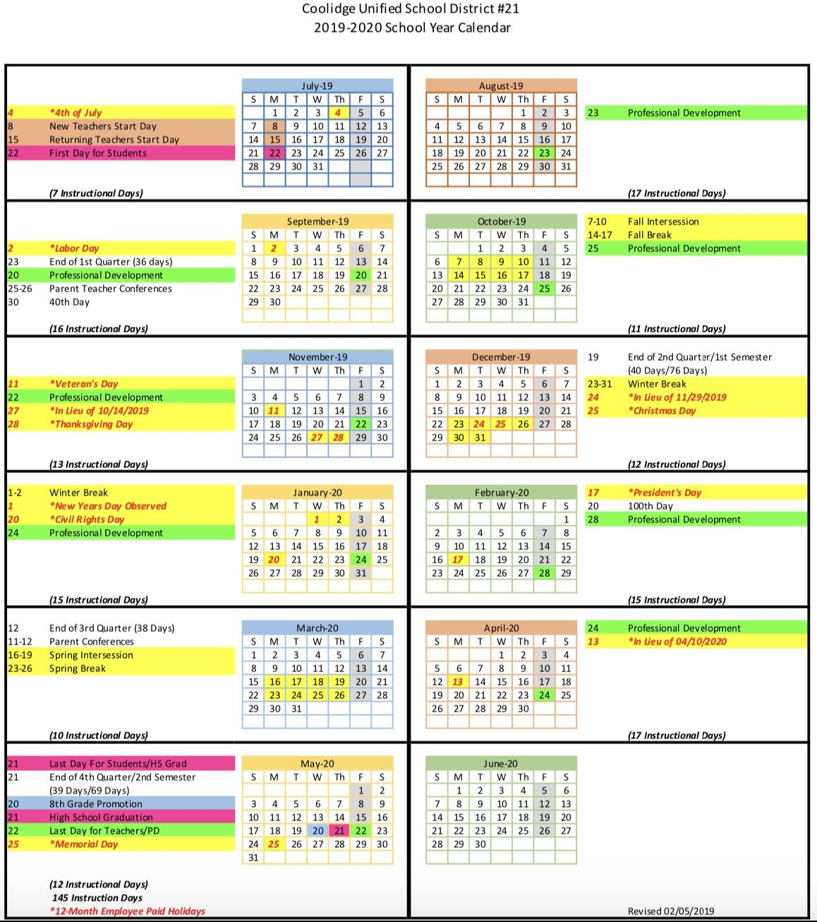 Calendar – Coolidge Unified School District With 2020 Gcu Academic Calendar