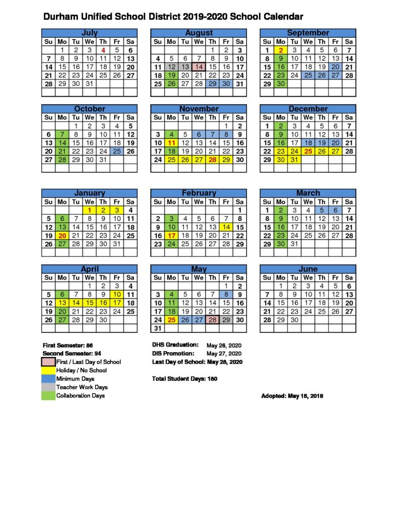 Calendar – Durham Unified School District Regarding Durham Public Schools 2021 Calendar