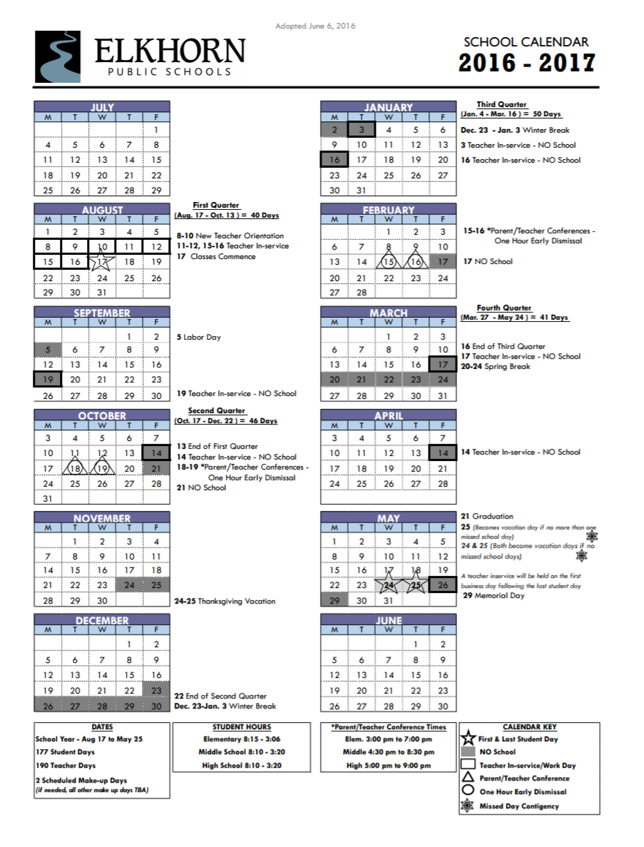 Calendar | Elkhorn Public Schools Throughout Bay City Public Schools Calender 2021 2020