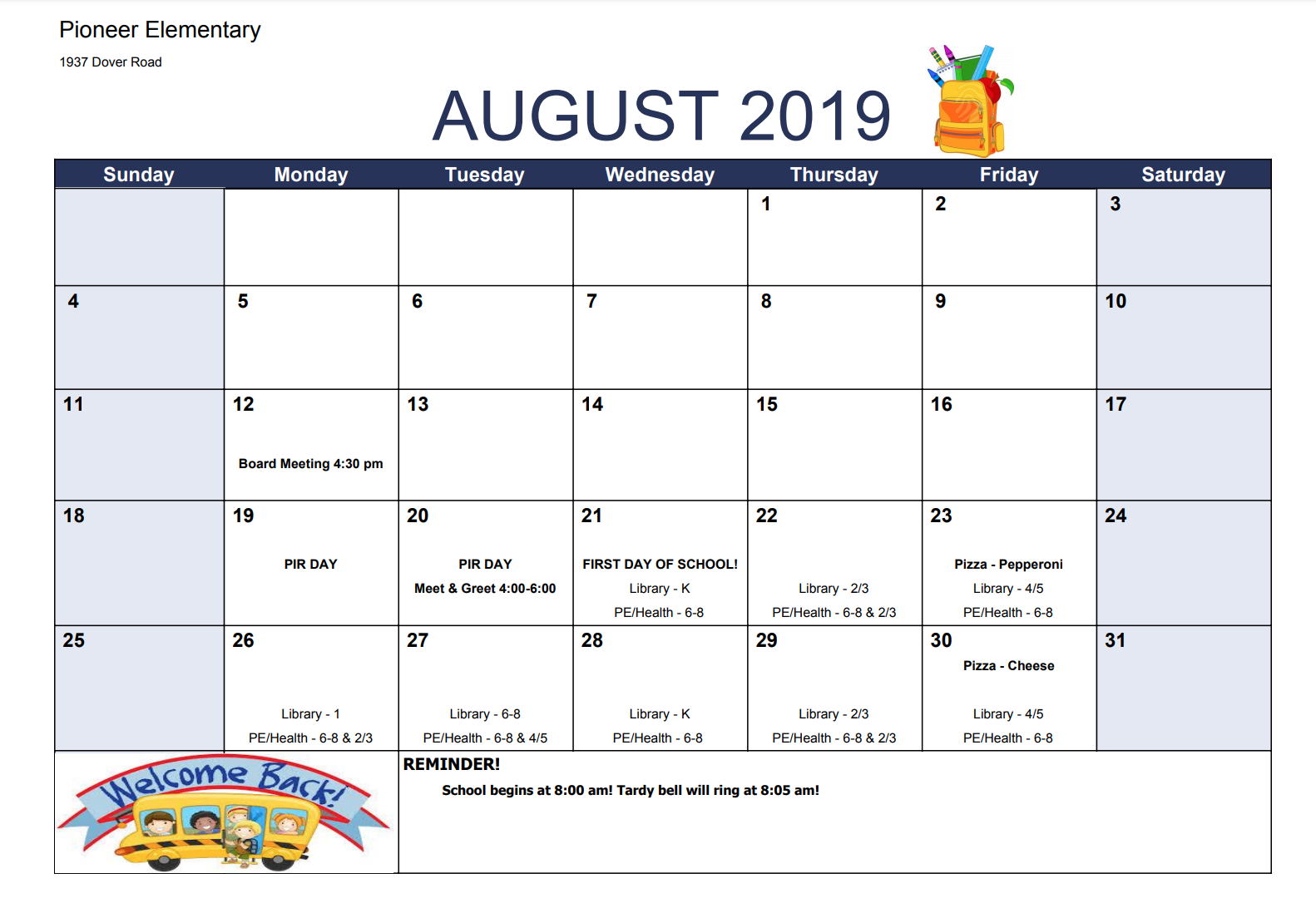 Calendar & Events – Pioneer Elementary School For Ool District 2 Calander For Billings Montnana