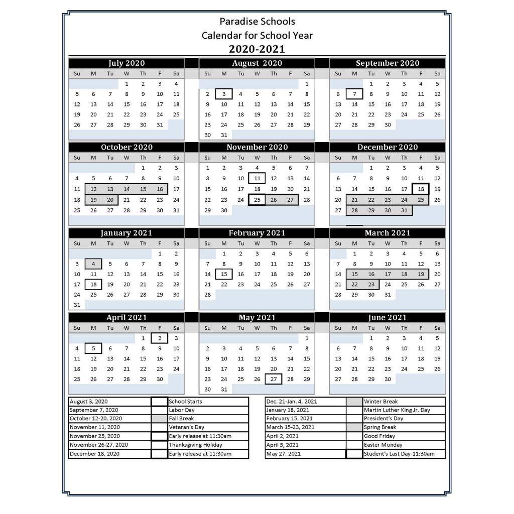 Calendar For School Year 2020 2021 – Paradise Schools With Paradise Valley Unified Calendar