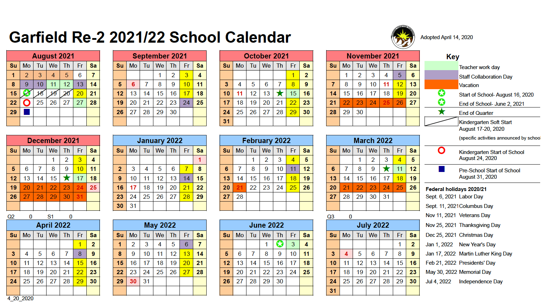 Calendar – Garfield School District No. Re 2 Throughout West Orange School District Printale Academic Schoool Schedule