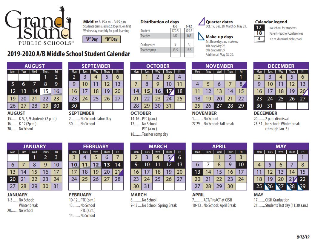 Calendar – Grand Island Public Schools With Grand Island Public Schools Calendar