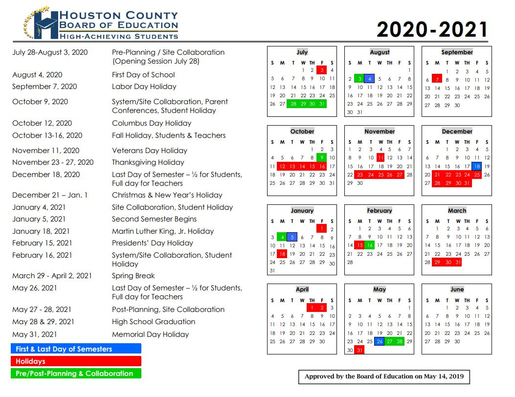 Calendar - Houston County Schools In Houston County Board Of Education Calendar