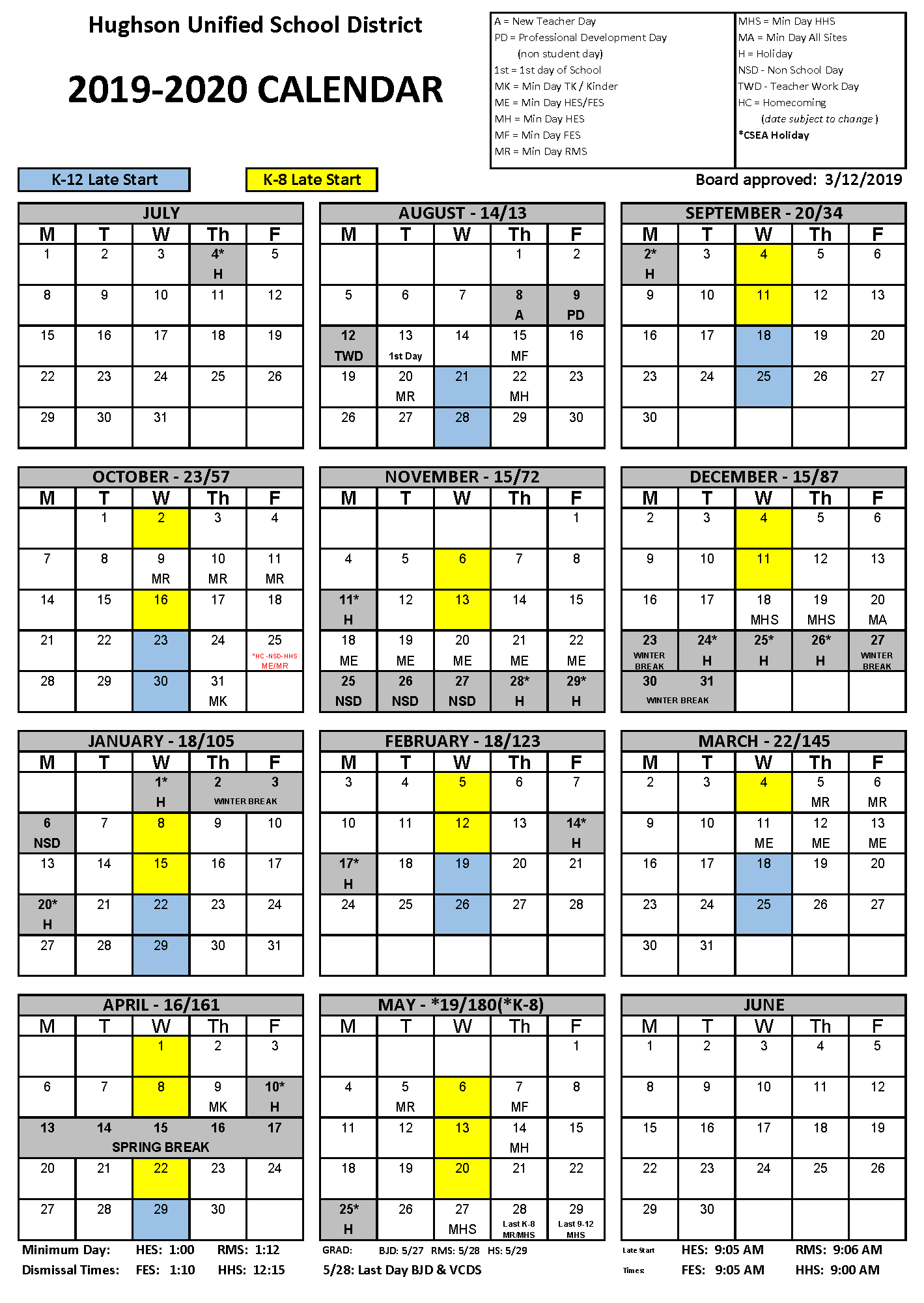 Calendar - Hughson Unified School District in Merced County Middle Schools Calendar