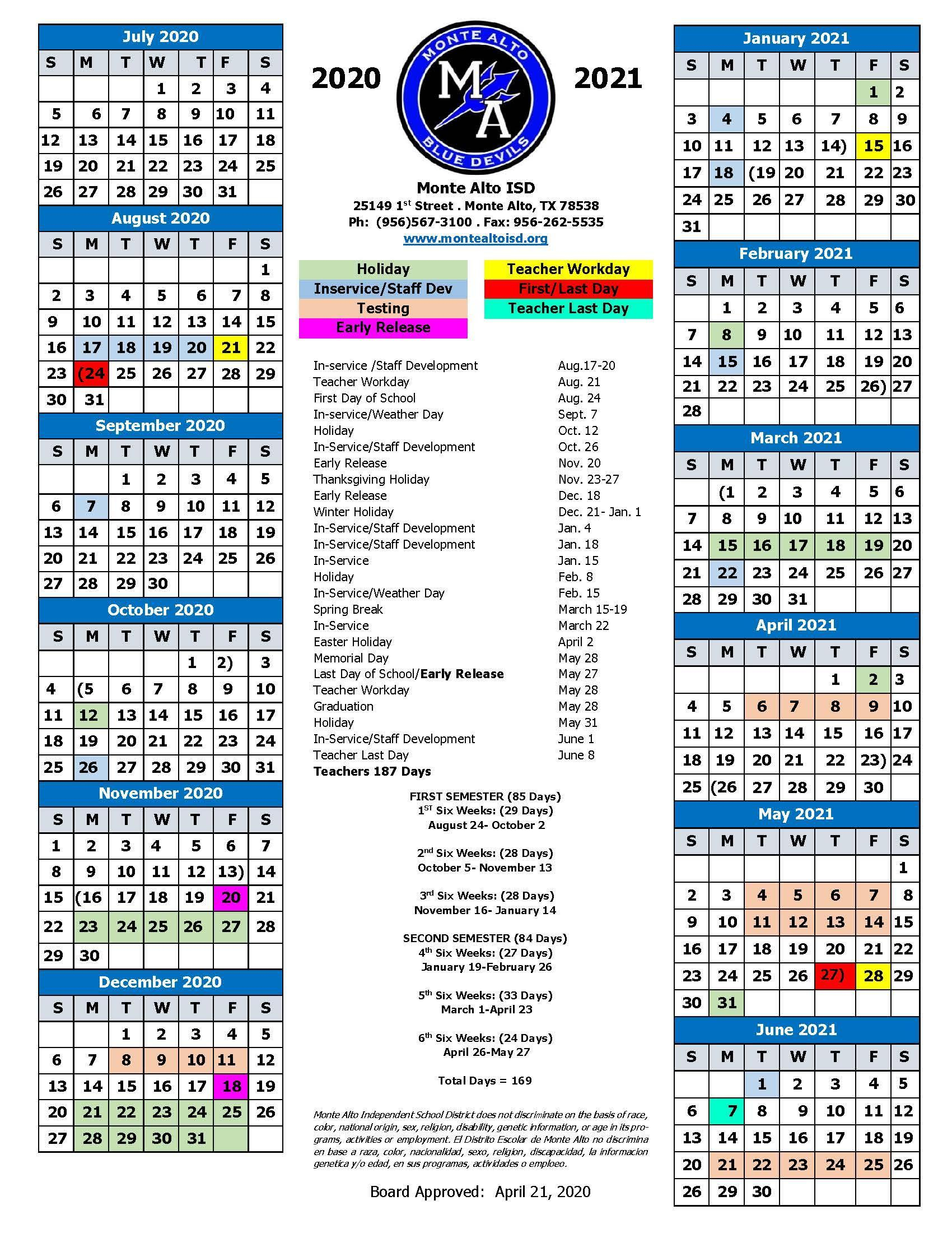 Calendar – Human Resources – Monte Alto Isd For La Joya Independent School District Calendar