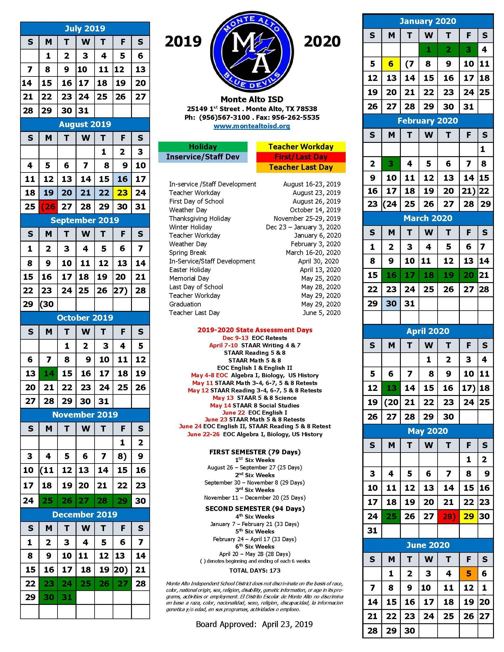 Calendar – Human Resources – Monte Alto Isd With La Joya Independent School District Calendar