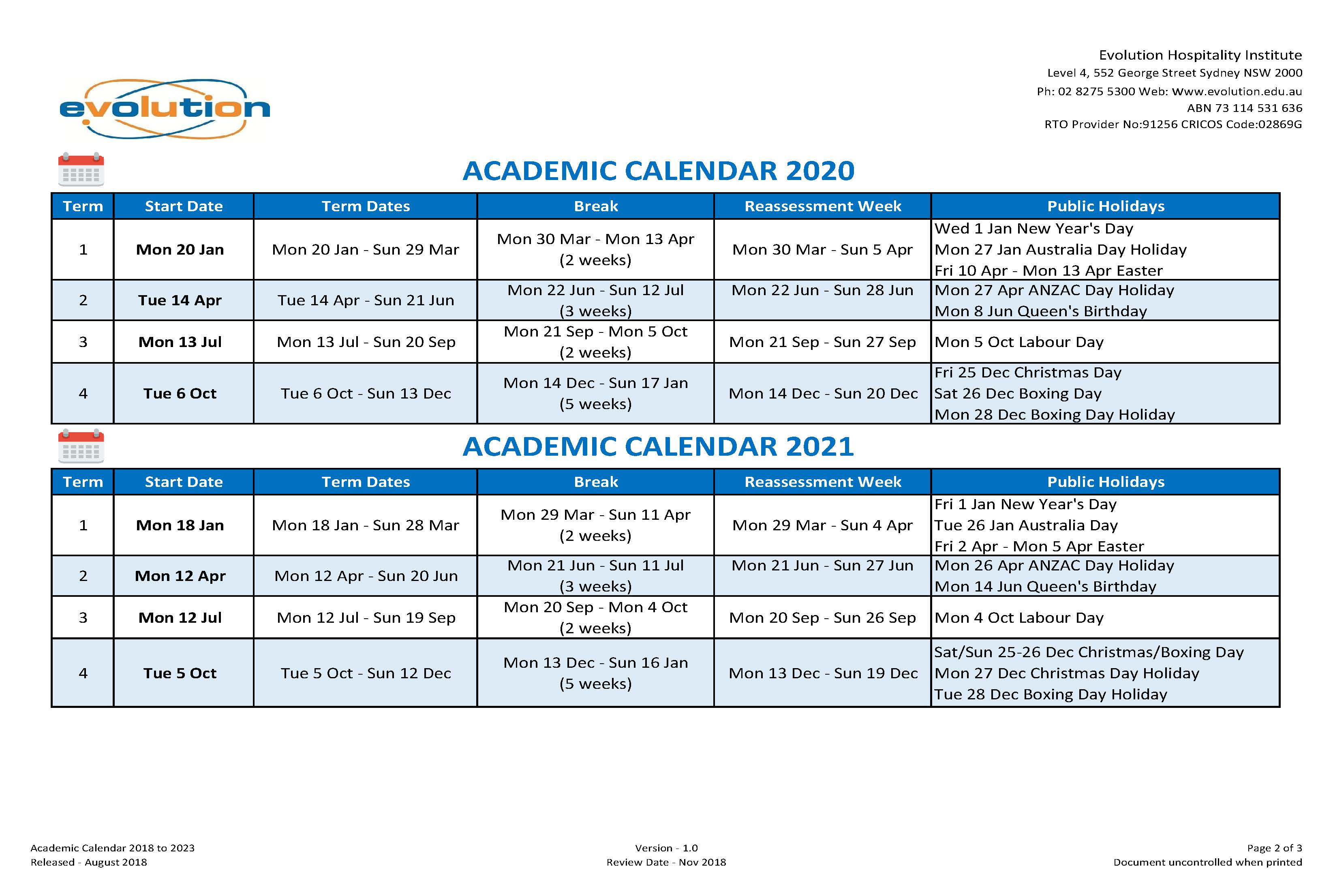 Calendar & Intake Dates | Ehi In University Of Melbourne Academic Calendar