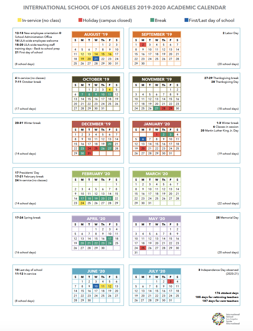 Calendar | International School Of Los Angeles With Diamond Bar High School Calendar 2021 2020