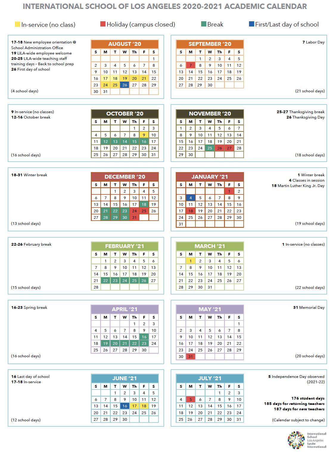 Calendar | International School Of Los Angeles With Golden West College Winter Break Schedule 2021
