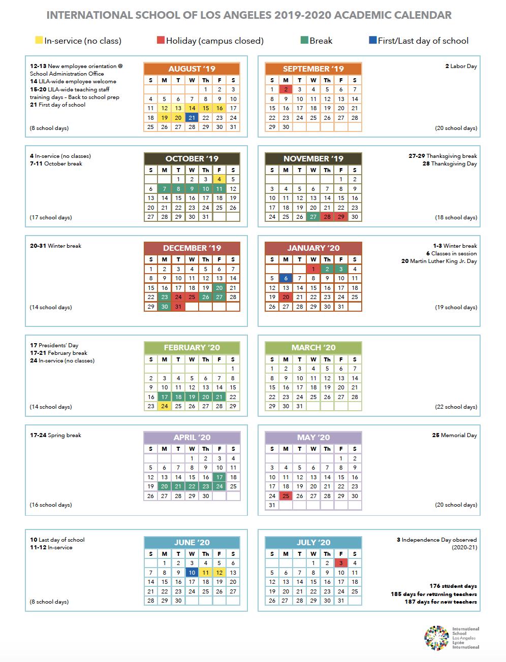 Calendar   International School Of Los Angeles Within La Habra High School Year Calendar