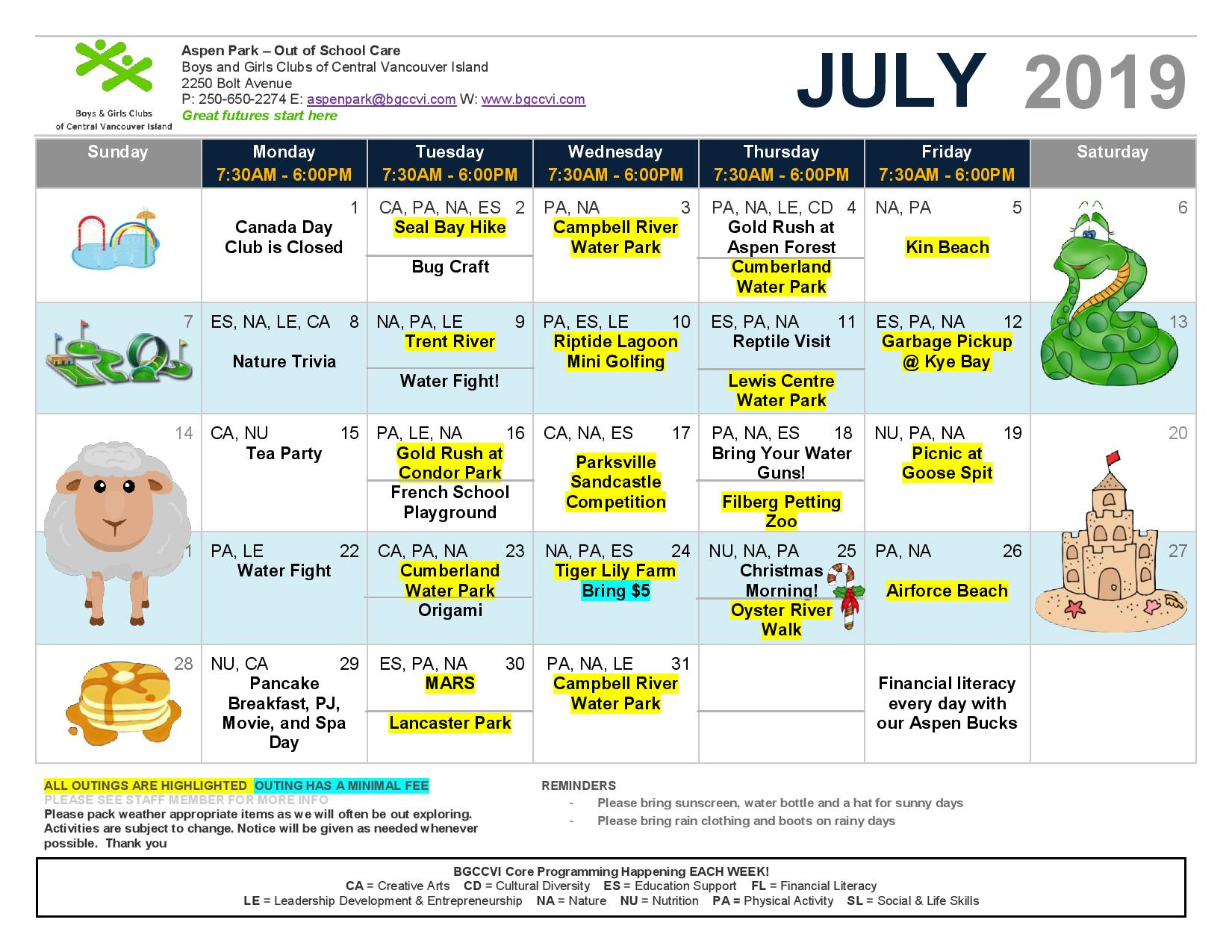 Calendar July 2019 Osc Page 001 – Boys & Girls Clubs Of For Boys And Girls Club Calender For Meetingd