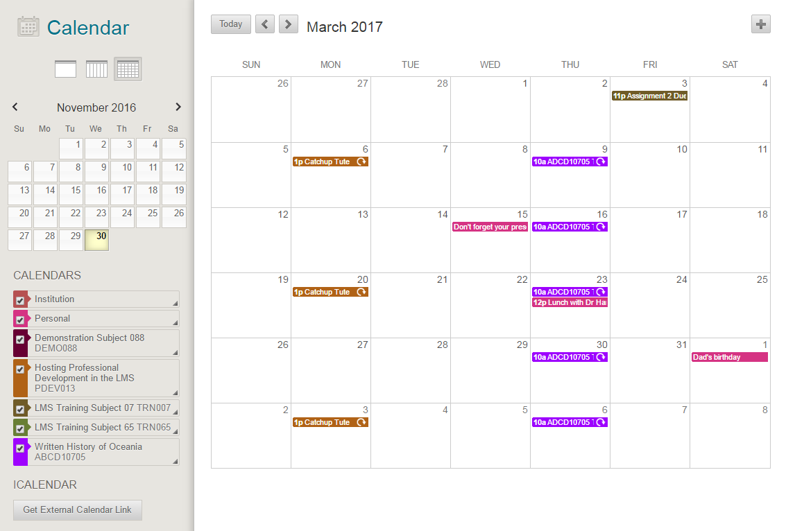 Calendar : Learning Management System With Regard To Unimelb Academic Calendar