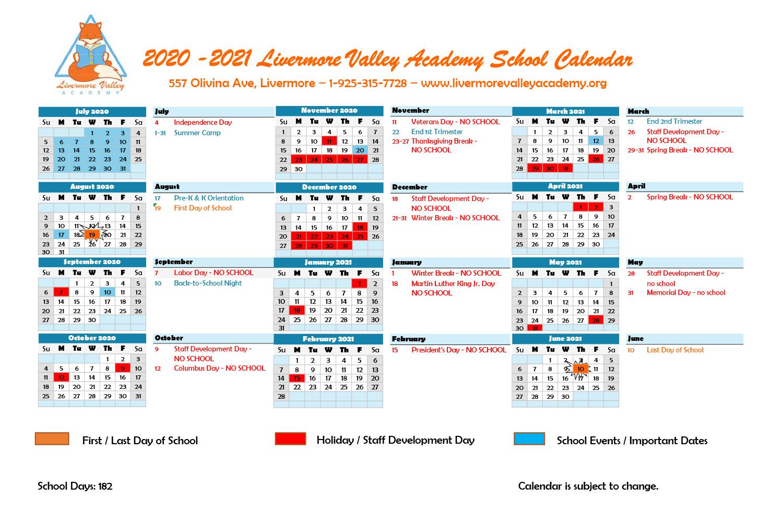 Calendar - Livermore Valley Academy Inside Livermore School Calendar