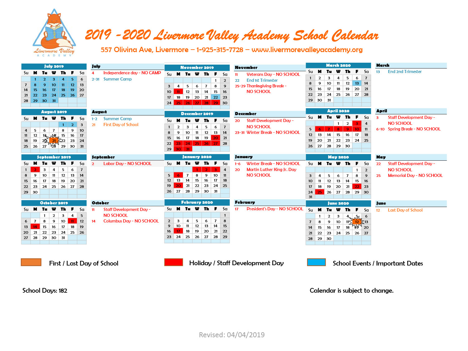 Calendar - Livermore Valley Academy Pertaining To Livermore School Calendar
