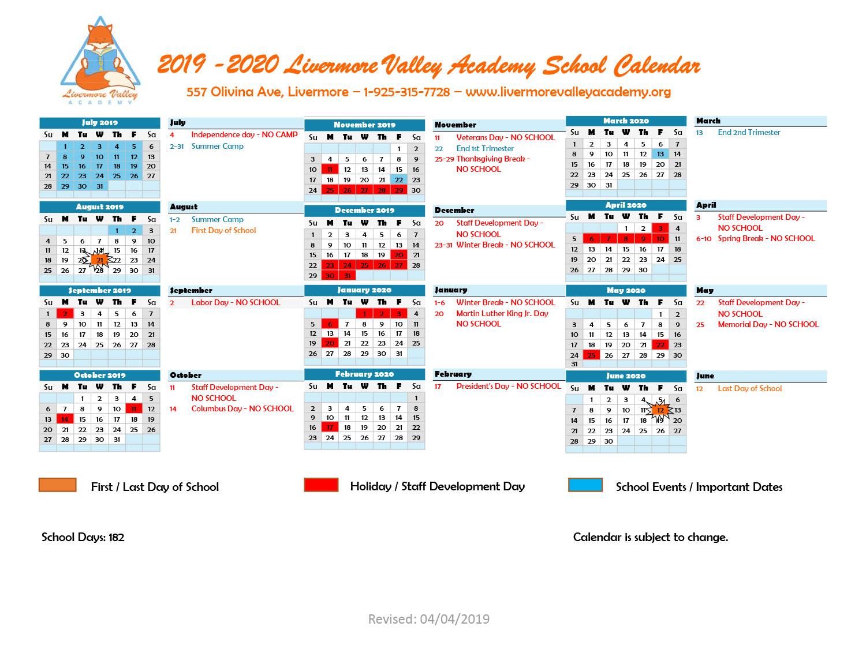 Calendar – Livermore Valley Academy Pertaining To Livermore School Calendar