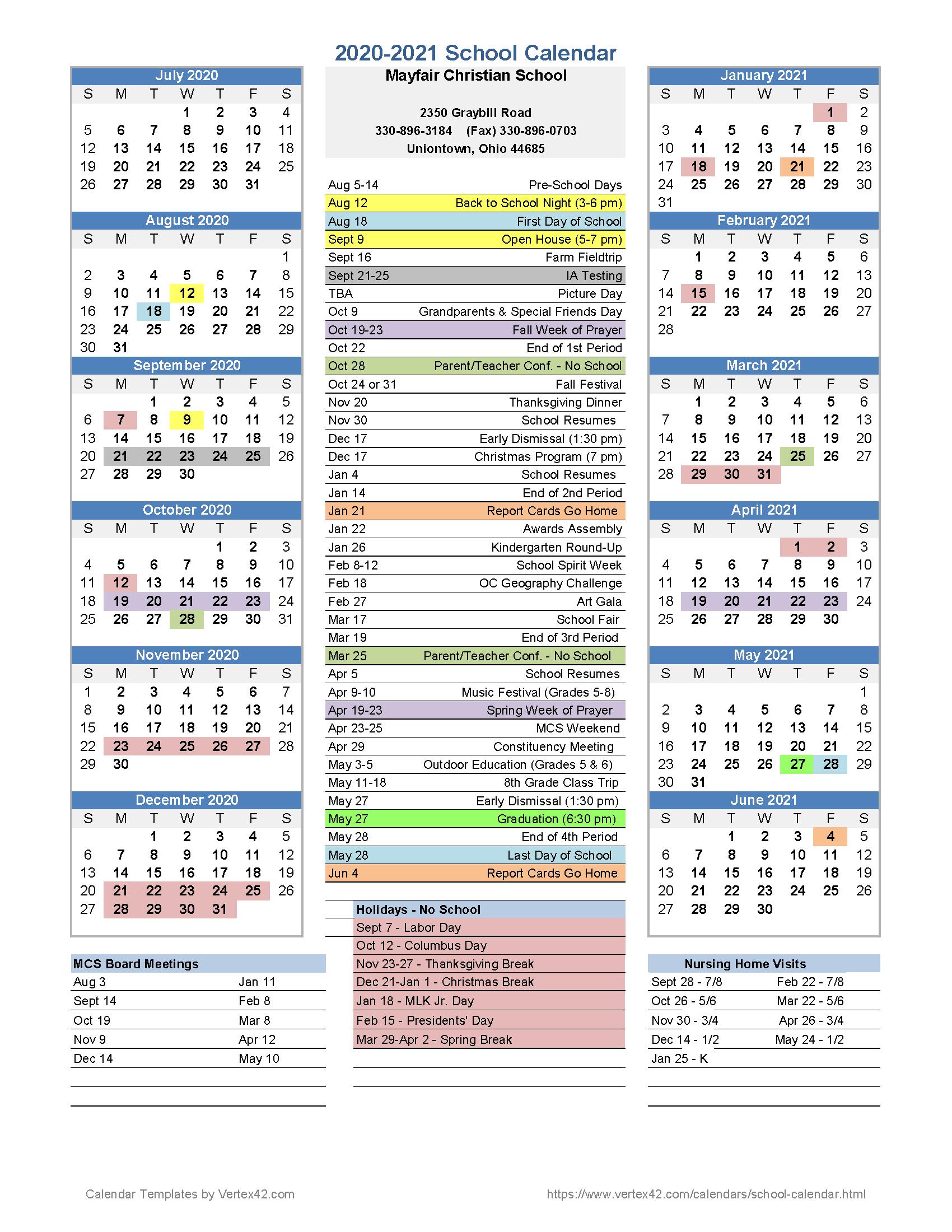 Calendar | Mayfair Christian School Regarding Ohio County Schools Calendar 2020 2021 Wheeling