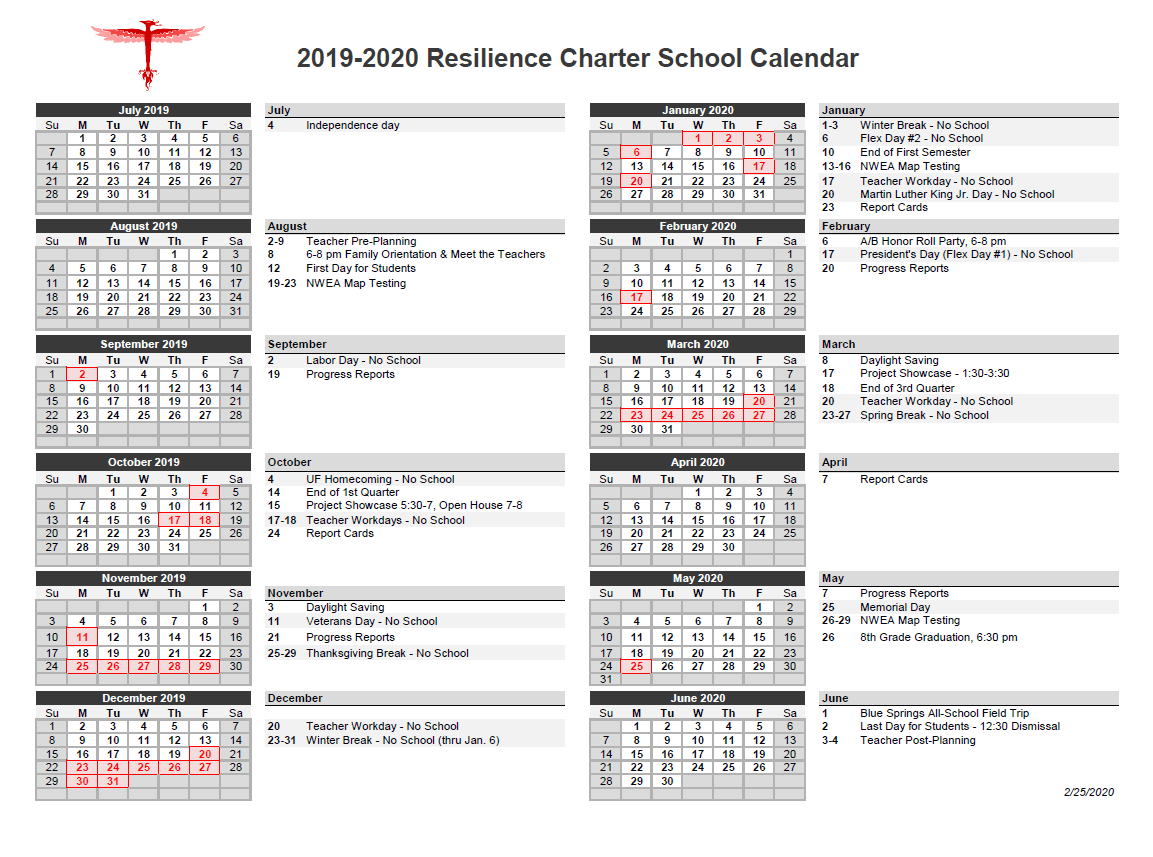 Calendar Of Events At Resilience Charter School Intended For Alachua School Board Calendar