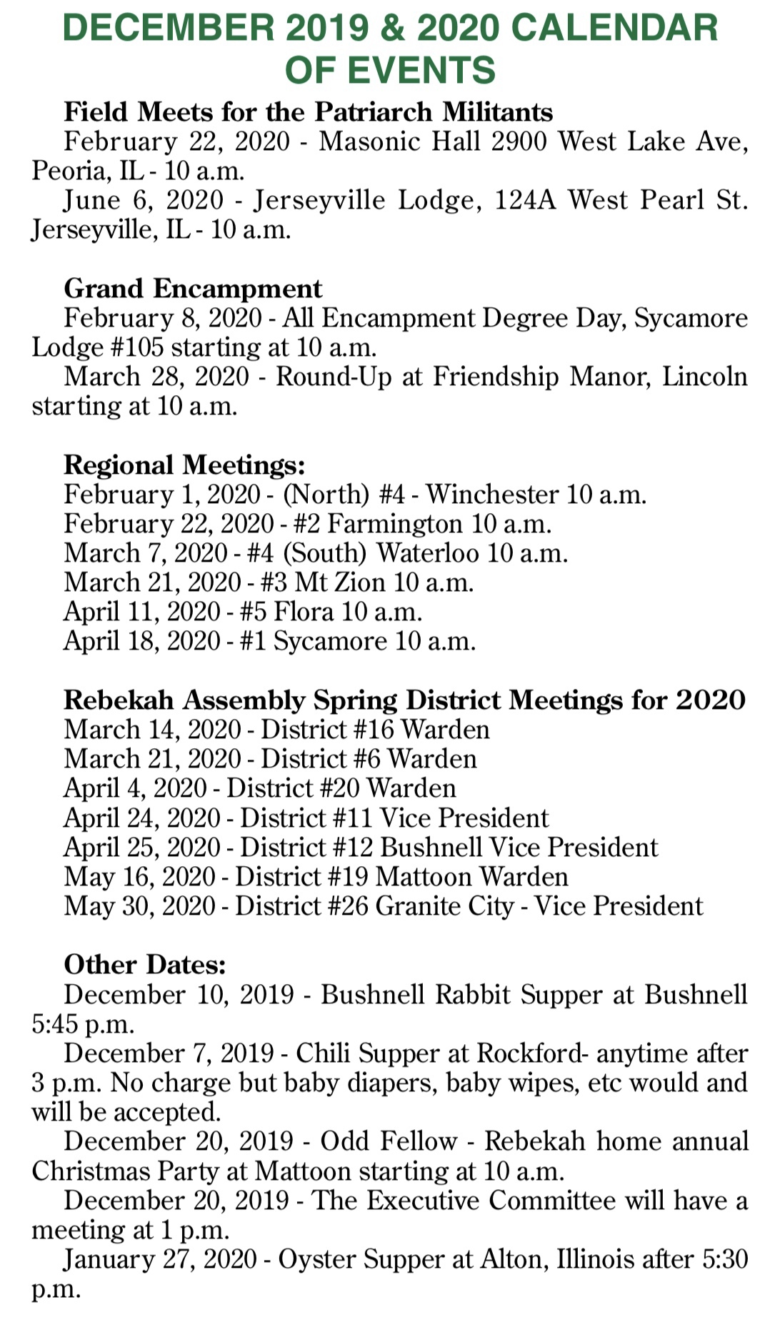 Calendar Of Events – Grand Lodge Of Illinois Ioof Intended For Calendar Of Events Peoria Il