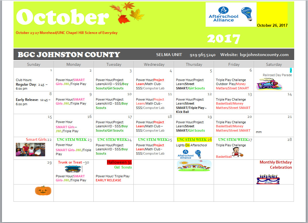 Calendar Of Events - My Kids Club - Serving Johnston County for Boys And Girls Club Calender For Meetingd