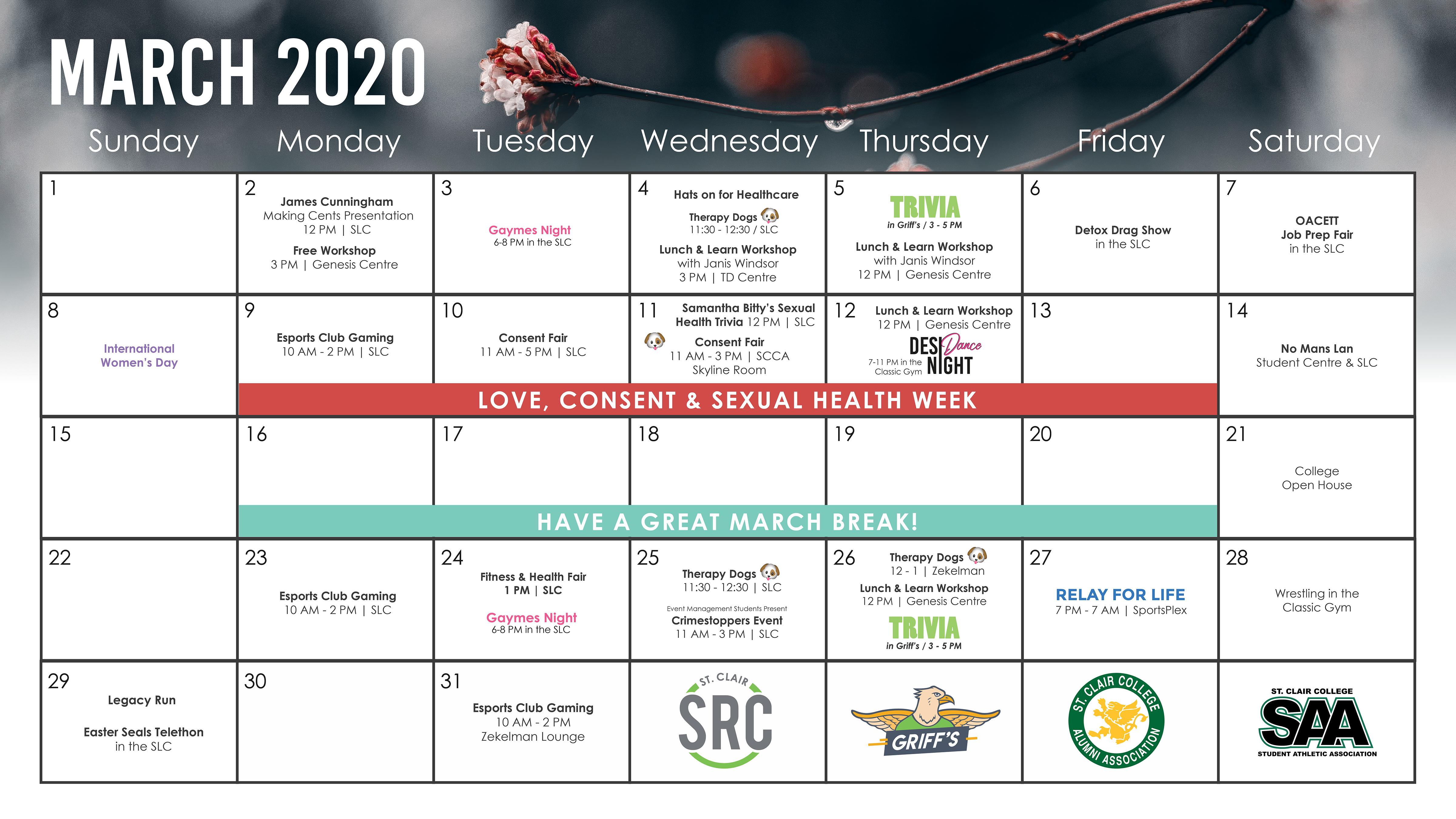 Calendar Of Events - St. Clair Src Student Representative With Owens Community College Calendar 2020
