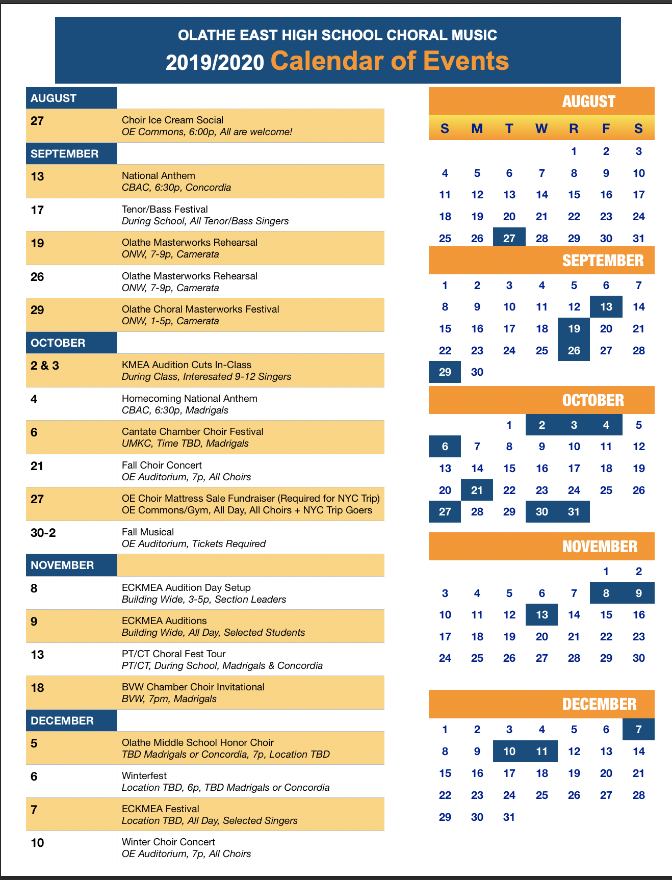 Calendar | Olathe East Choral Music Intended For East Orange H S Calendar