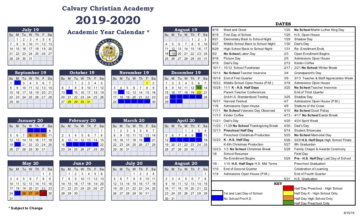 Calendar & Resources | Calvary Christian Academy Throughout Francis Lewis High School 2021 Calendar