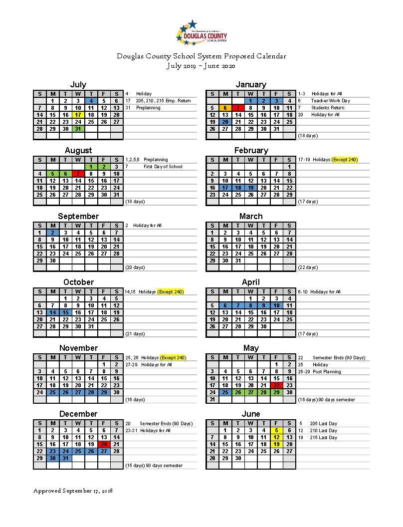 Calendar Set For 2019 2020 - Douglas County School System Pertaining To Georgia State School Calendar 2020