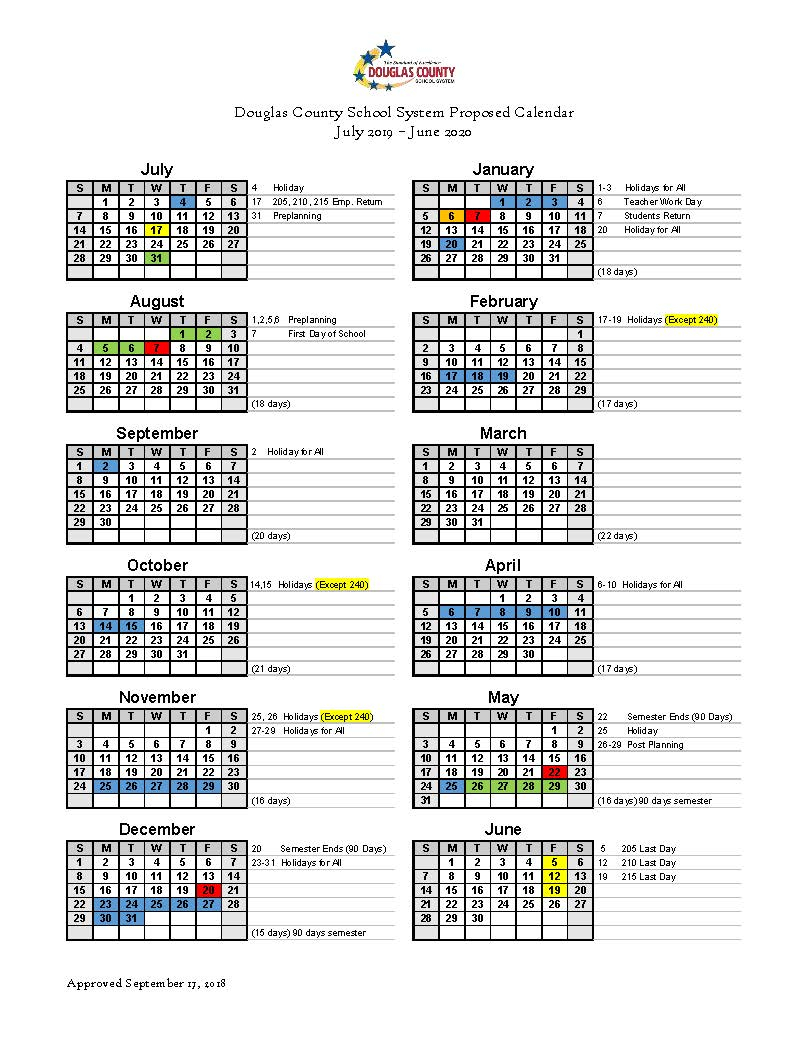 Calendar Set For 2019 2020 - Douglas County School System With Middle Country School District Calendar