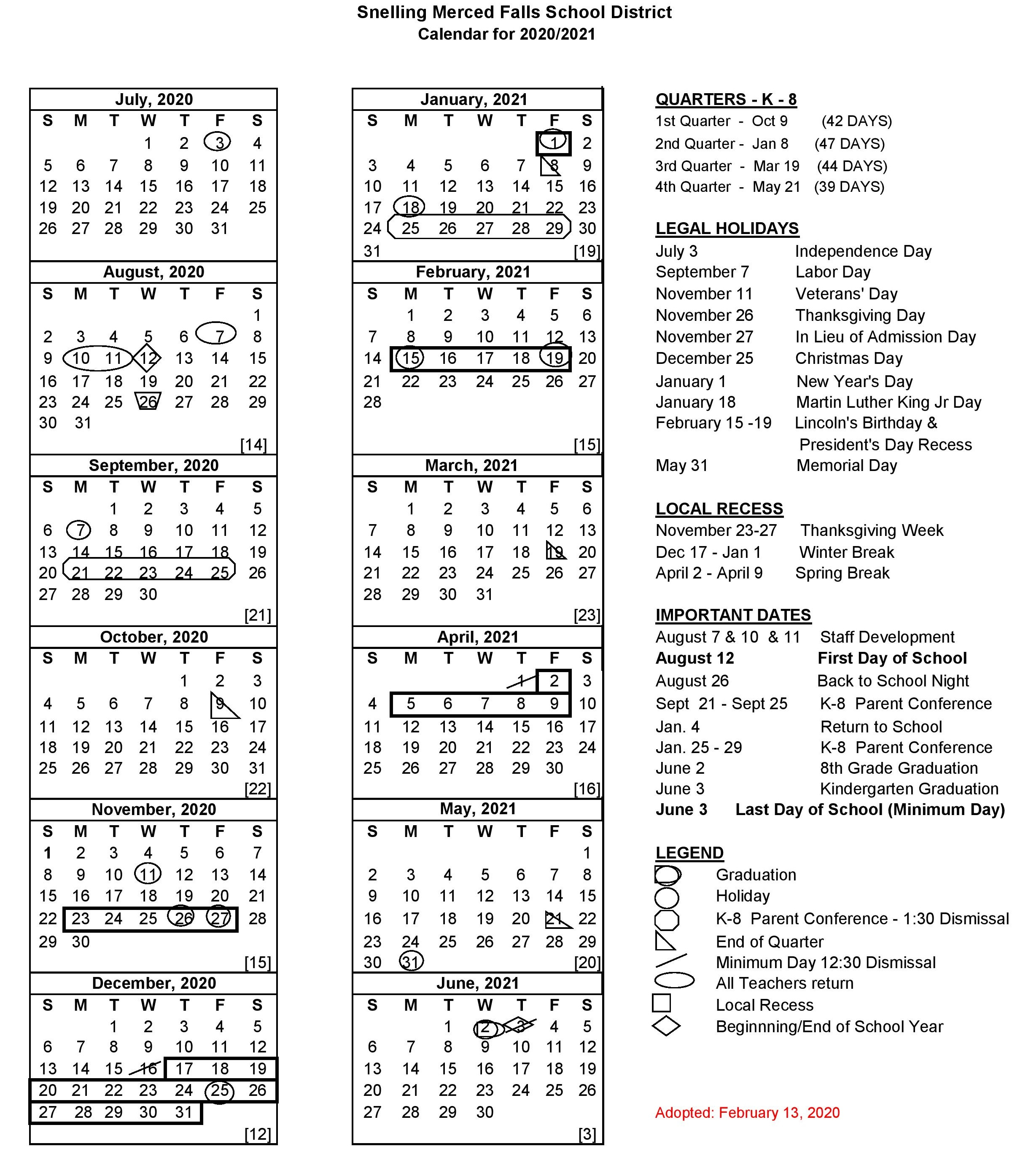 Calendar - Snelling Merced Falls Elementary Pertaining To Merced County Middle Schools Calendar