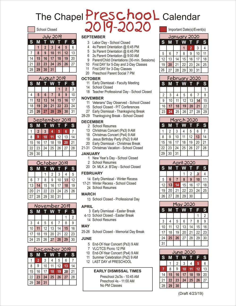 Calendar — The Chapel School Intended For Woodbridge Township School Calendar