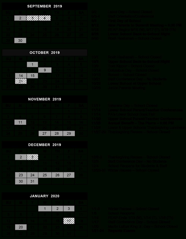Calendar — The Summit School Regarding Middlesex County College 2015 2020 Calendar