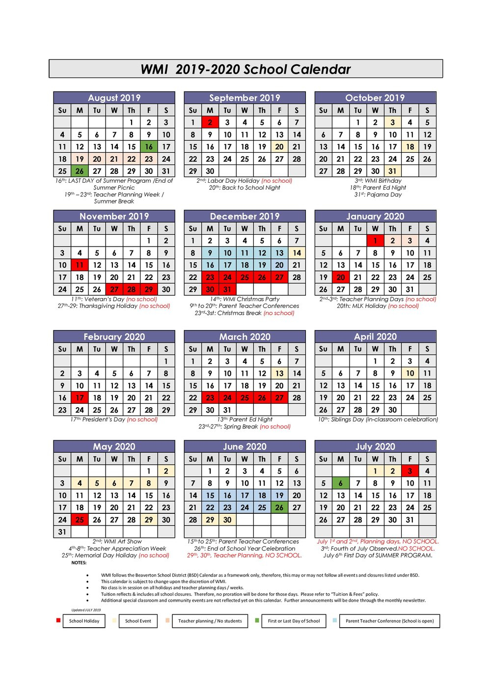 Calendar — Westside Montessori International For Last Day Of Summer Calendar