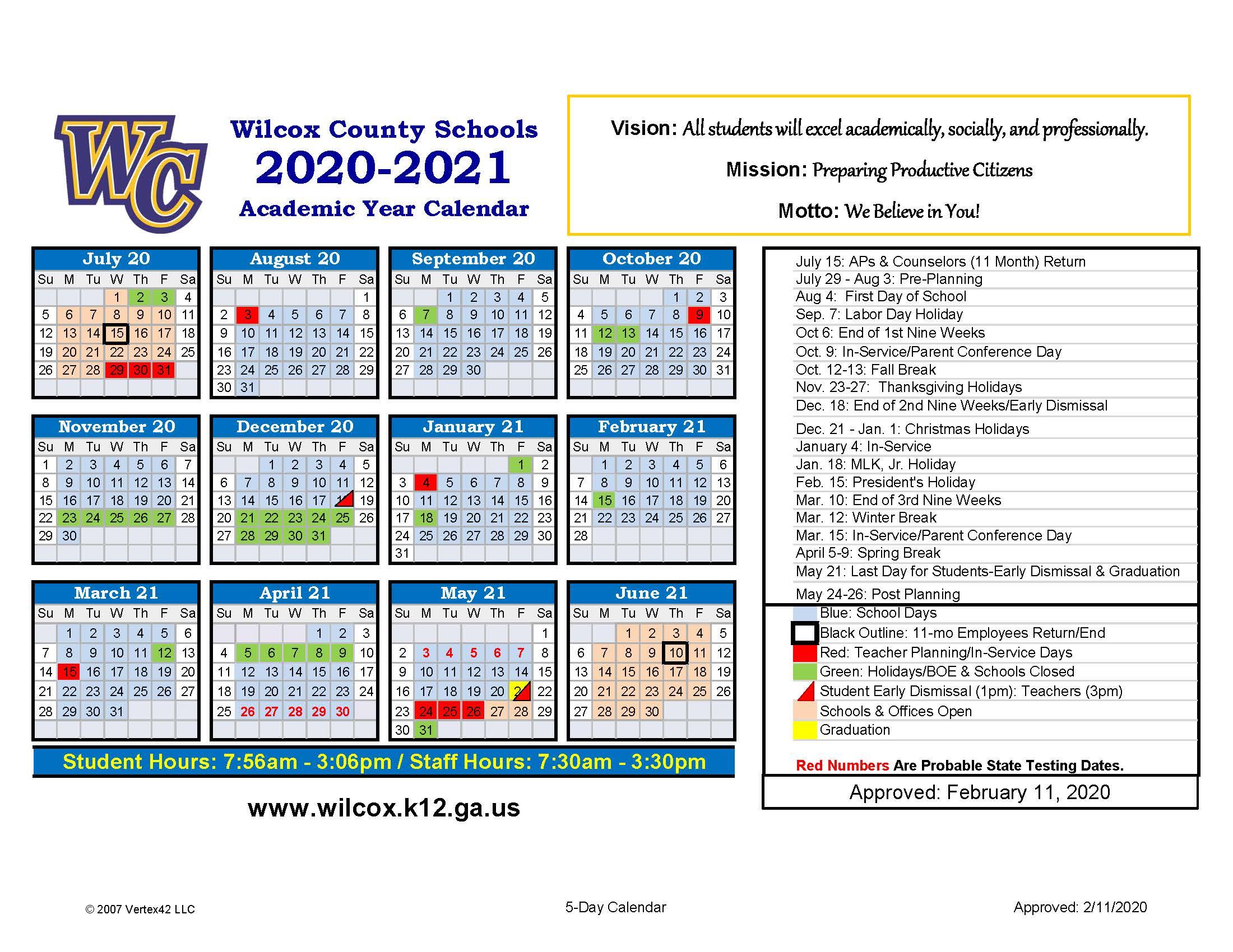 Calendar – Wilcox County Schools Throughout Houston County Ga Calendar 2021 2021