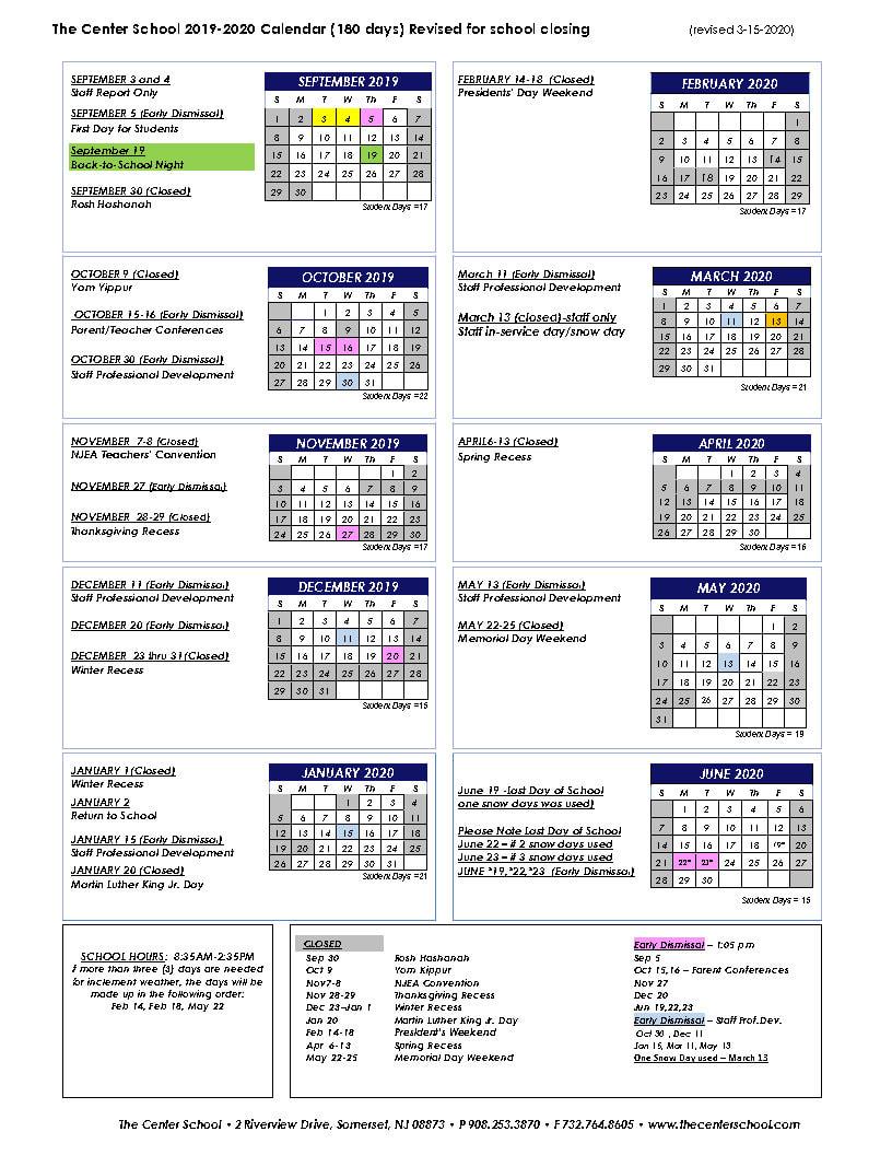 Calendar With Nassau Cc 19 20 Calendar