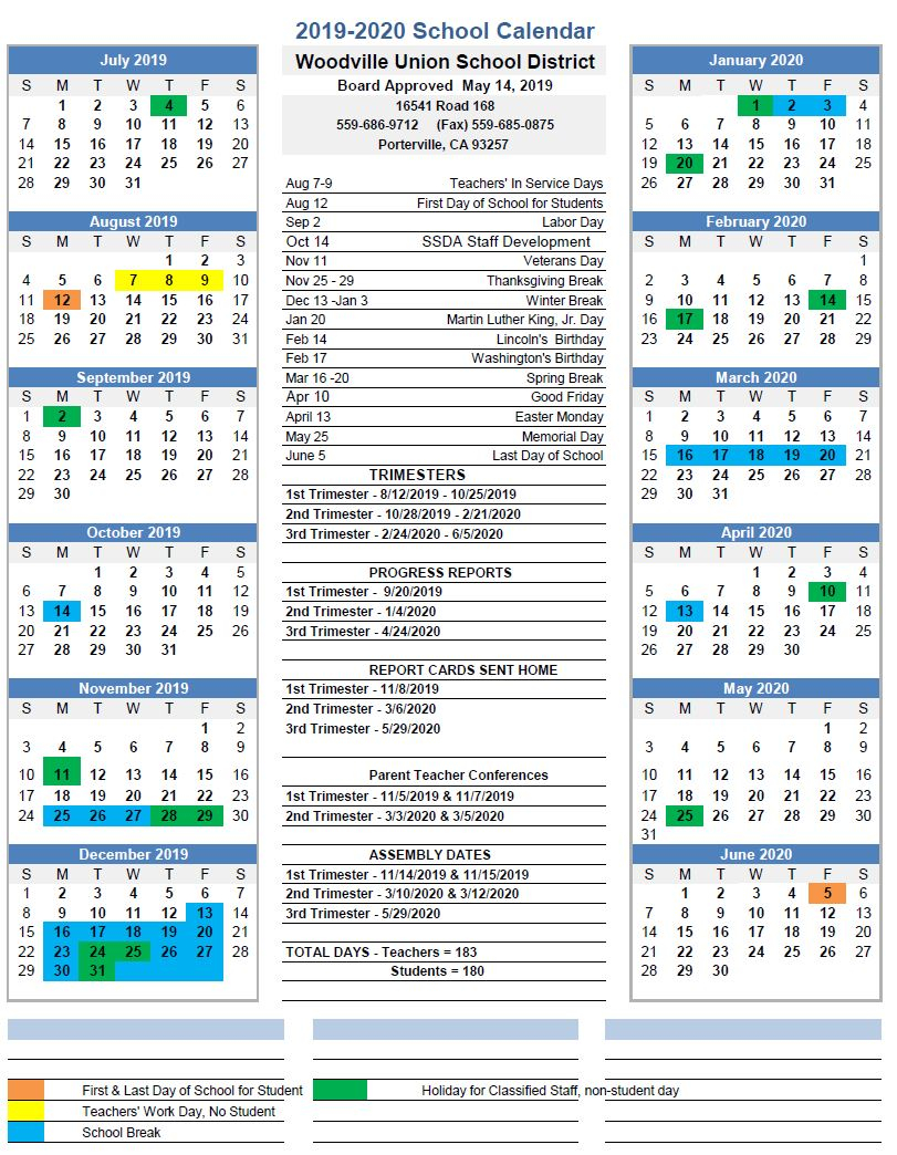 Calendar - Woodville Union School District Within Porterville School Calendar