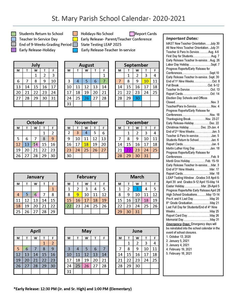 Calendars / 180 Day School Calendar (2020 21) For Natchitoches Parish School Board Calendar