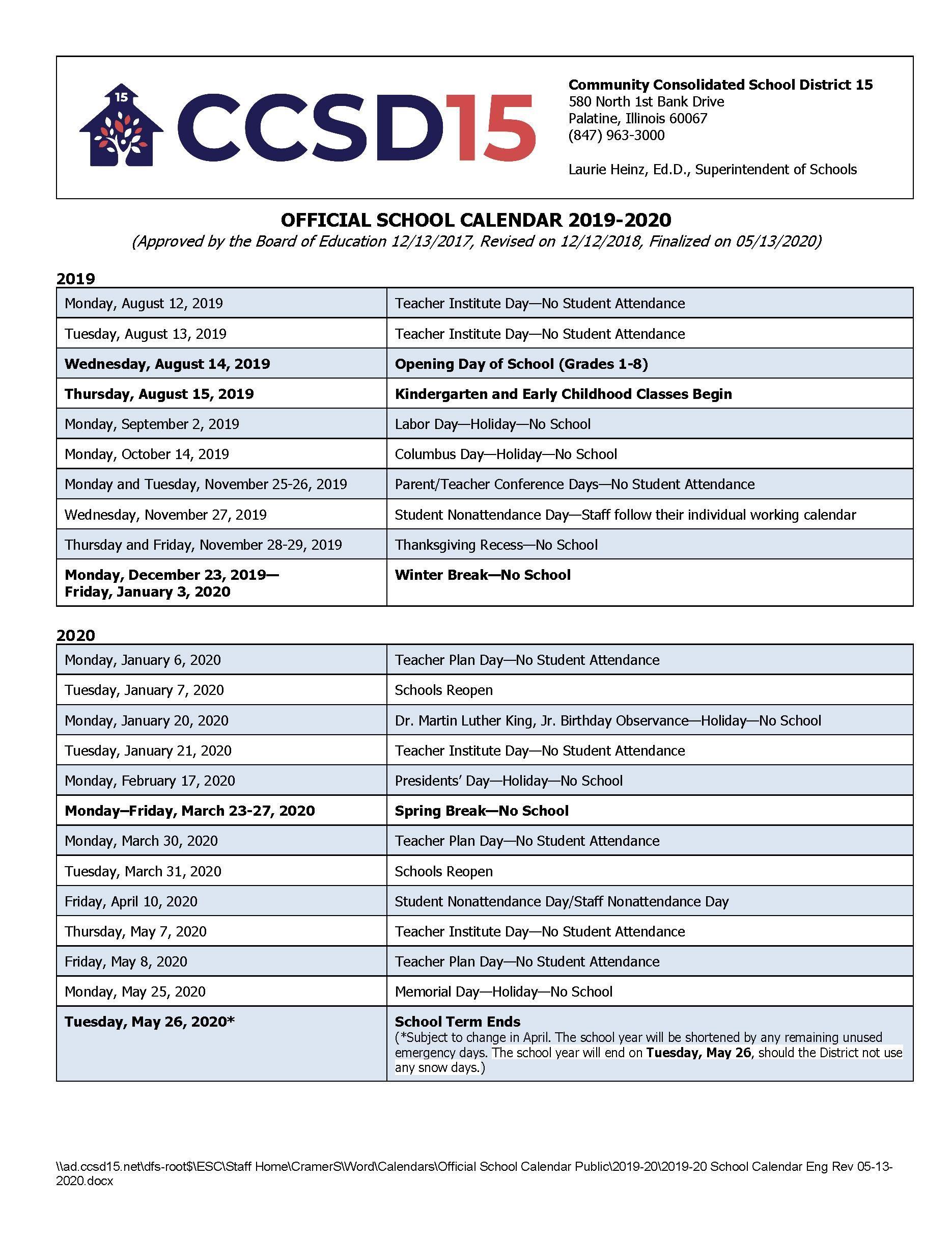 Calendars / 2019 20 Official School Calendar For St Charles Illinois School Calendar