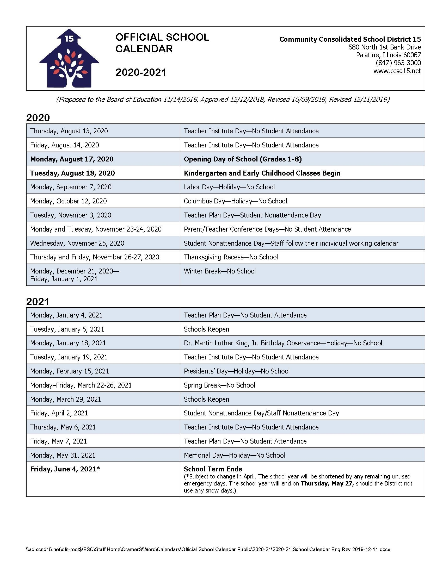 Calendars / 2020-21 Official School Calendar with Chamberlain University Schedule 2021
