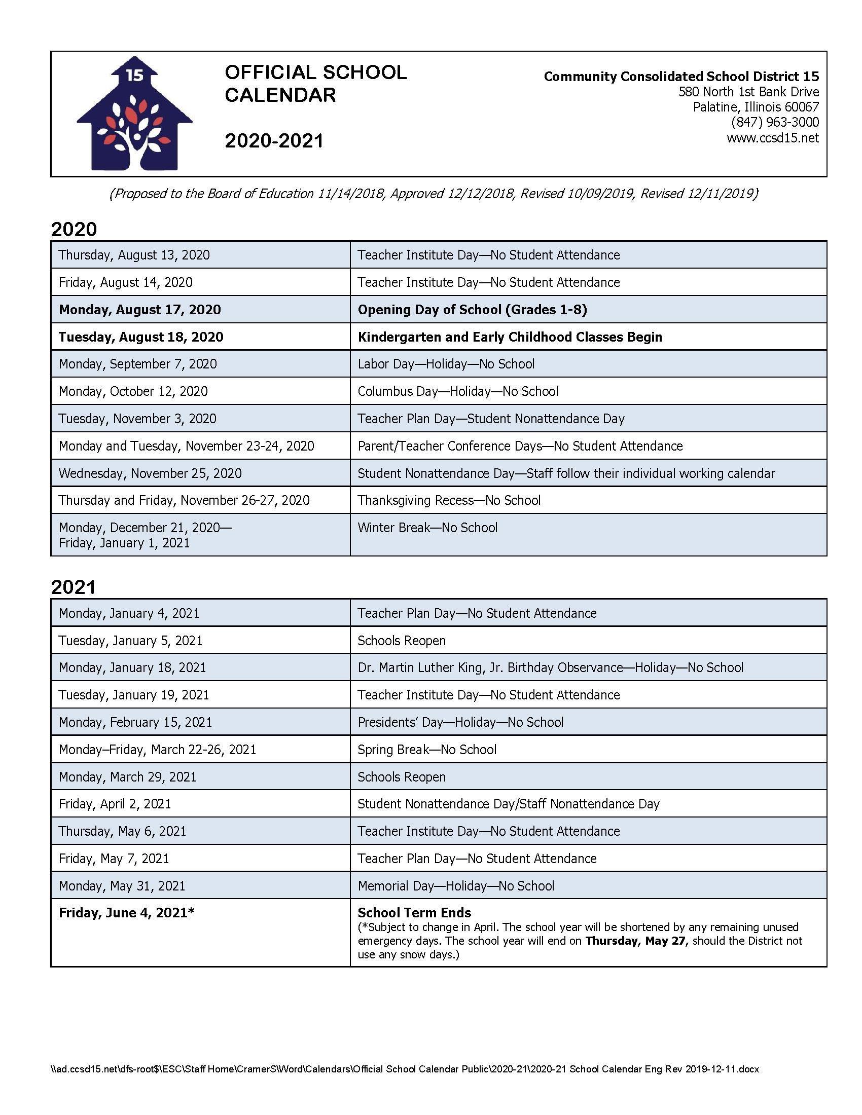 Calendars / 2020 21 Official School Calendar With Regard To St Charles Illinois School Calendar