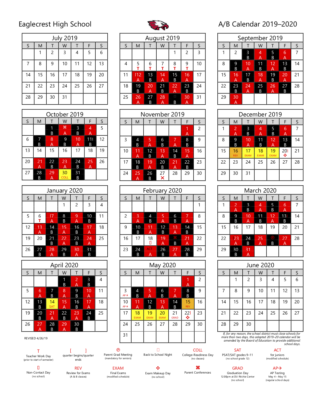Calendars And Schedules / A/b Calendar With Regard To East Meadow School District Calendar