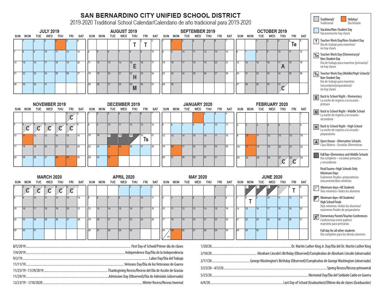 Calendars – Cesar E. Chavez Middle School For Golden West College Winter Break Schedule 2021